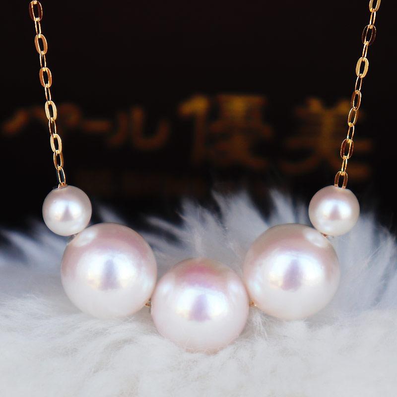 日本Akoya 海水珍珠项链 K18黄金 or K14白金  8-8.5mm 4-4.5mm 珍珠礼品