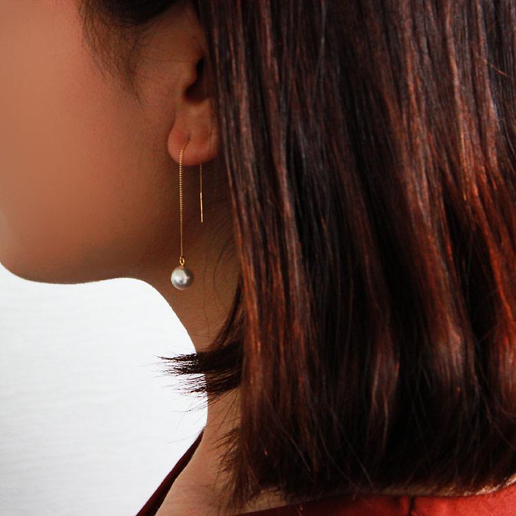 Akoya海水珍珠耳坠耳环 7.5-9mm  K18黄金or K14白金