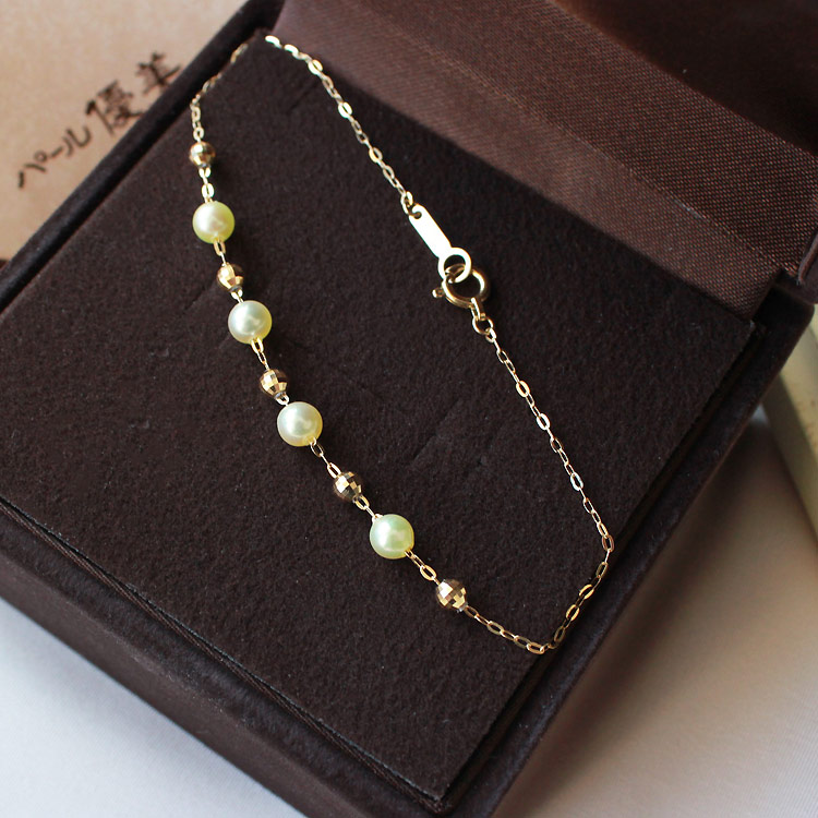 akoya海水珍珠 稀少天然金色 4-4.5mm 小金钻球 可自由滑动 K18手链