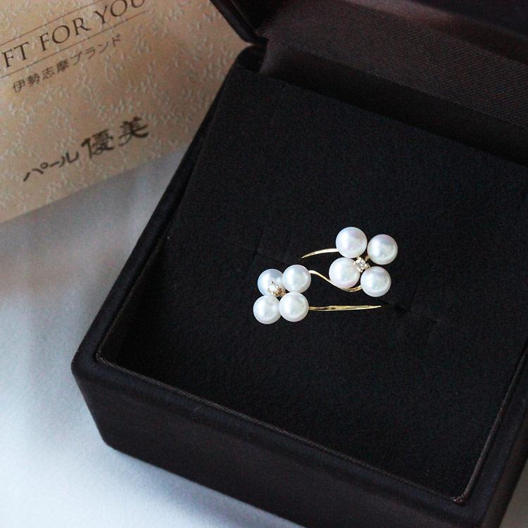 Akoya海水珍珠[FLOWER]戒指 K18 钻石