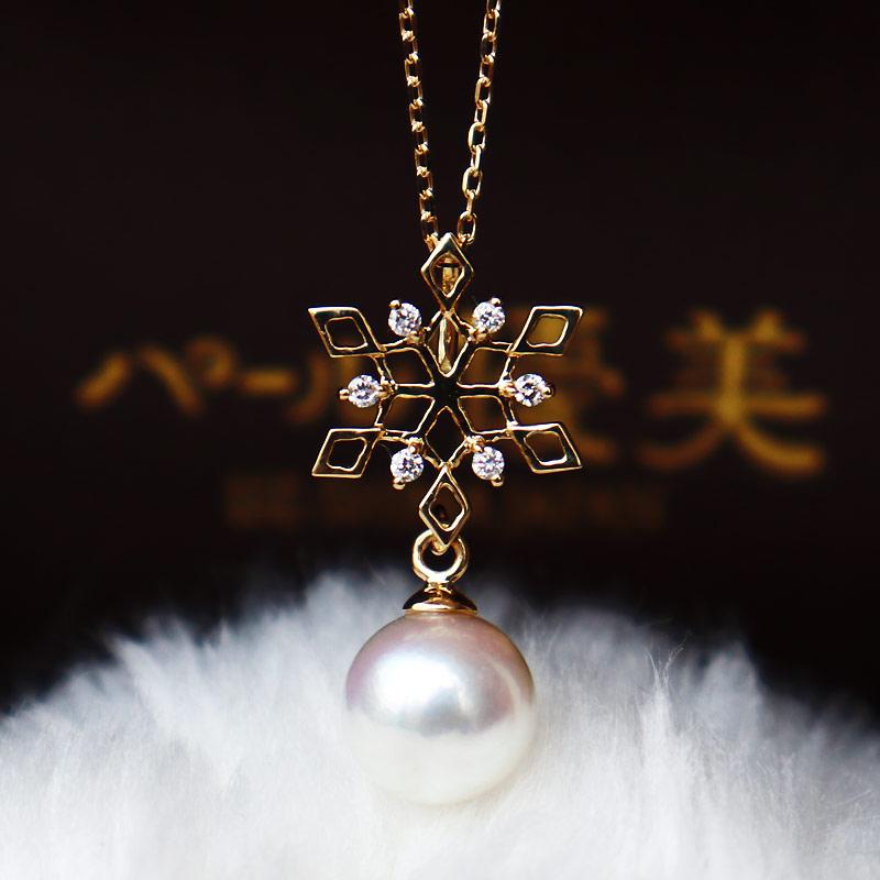 K18 akoya珍珠雪花钻石项链 D0.06ct 6pcs(链子另售)
