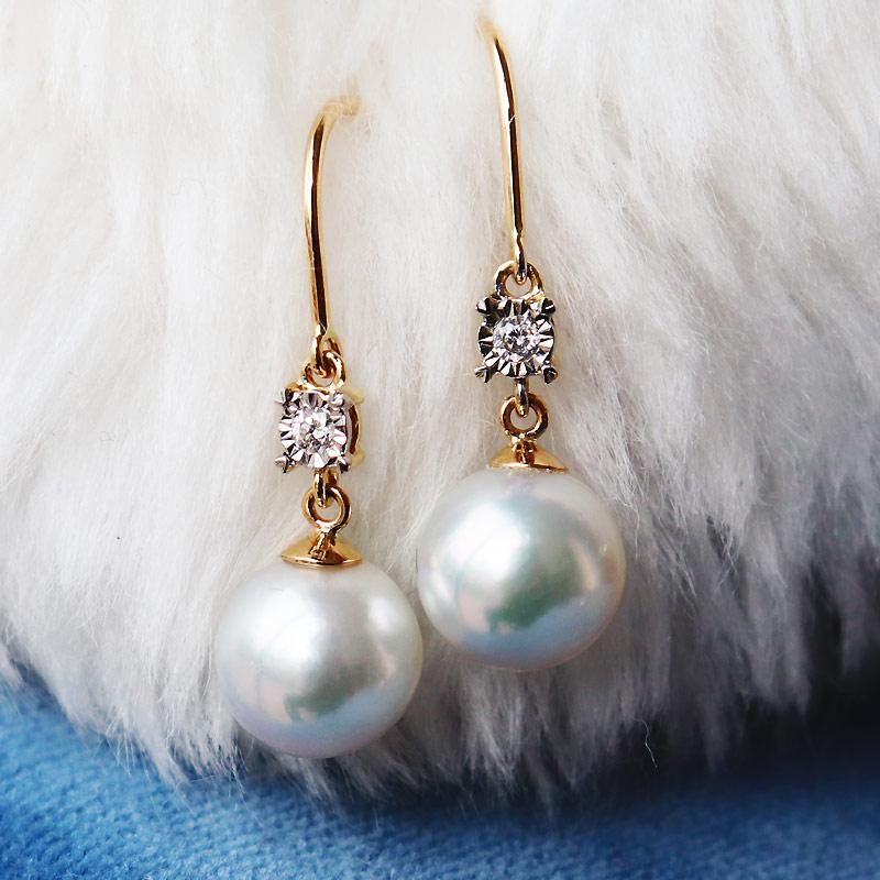 K18 akoya珍珠钻石 耳环 D0.04ct 2pcs 钻石式车花镶嵌