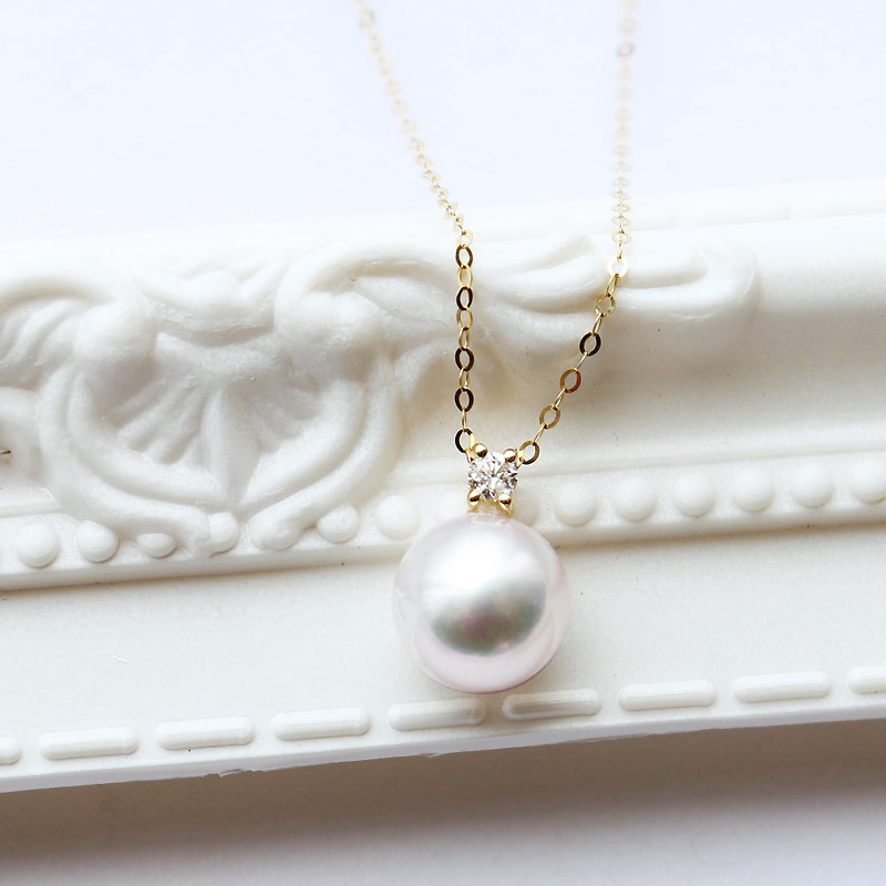 K18 akoya珍珠1粒DIA钻石项链akoya necklace D0.04ct 1pcs
