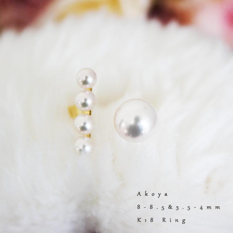 K18几粒akoya珍珠环akoya ring  戒指