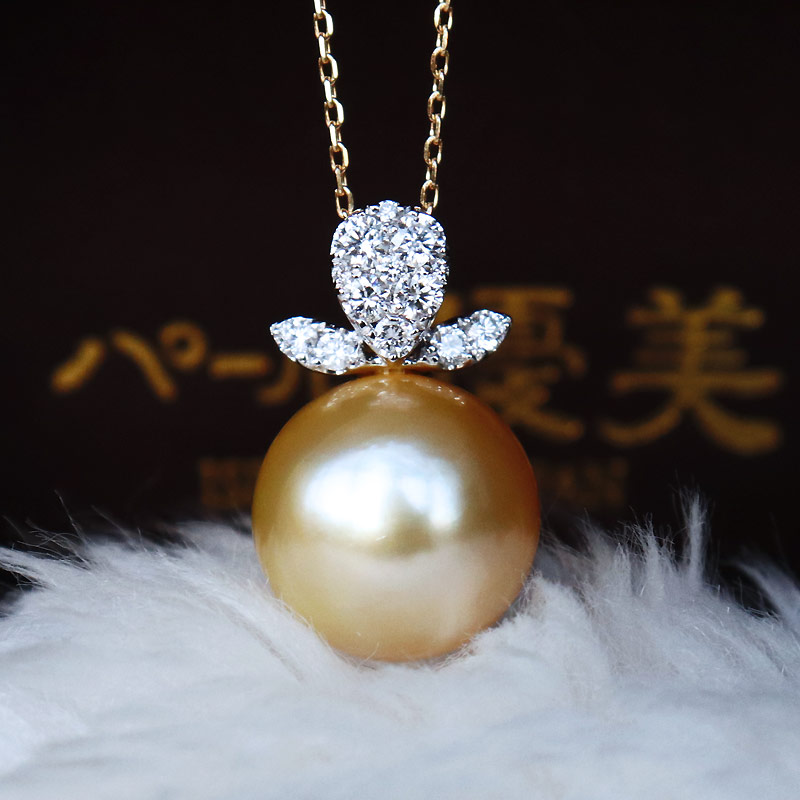 K18/K18WG南洋珍珠12mm高端钻石项链southsea pearl necklace D0.28ct 11pcs
