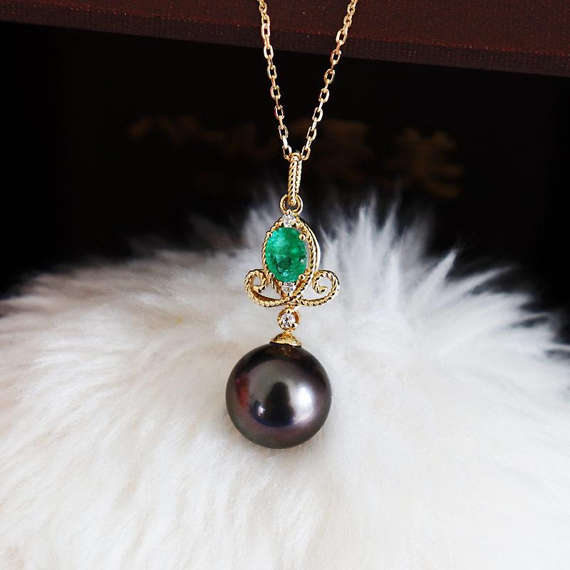 大溪地黑珍珠项链18K 绿宝石钻石吊坠0.2ct D0.02ct 2pcs【单独吊坠不带链子】