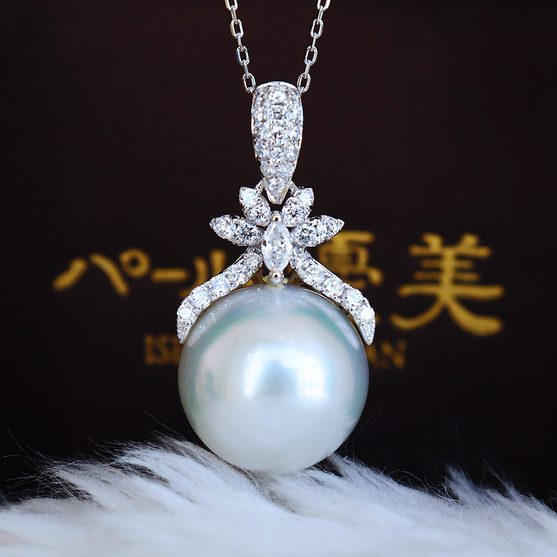 K18白金南洋奥白珍珠13mm 钻石吊坠 D0.37ct 34pcs