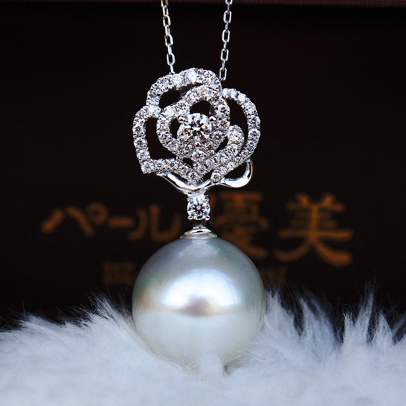 K18白金南洋奥白珍珠13mm 钻石吊坠D0.42ct 48pcs
