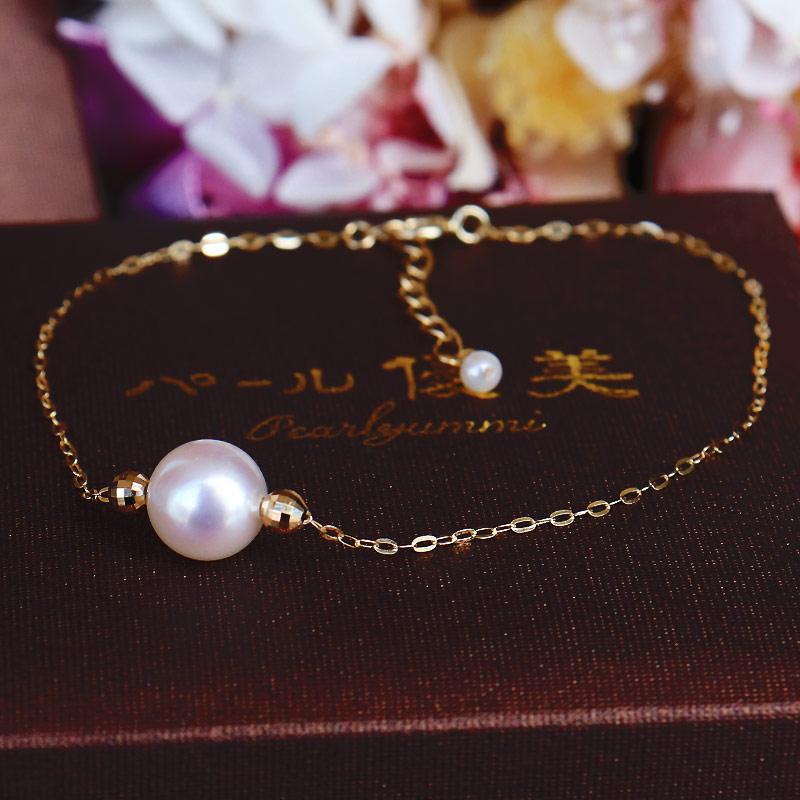 Akoya海水珍珠7.5-8mm 18K 小金钻球手链