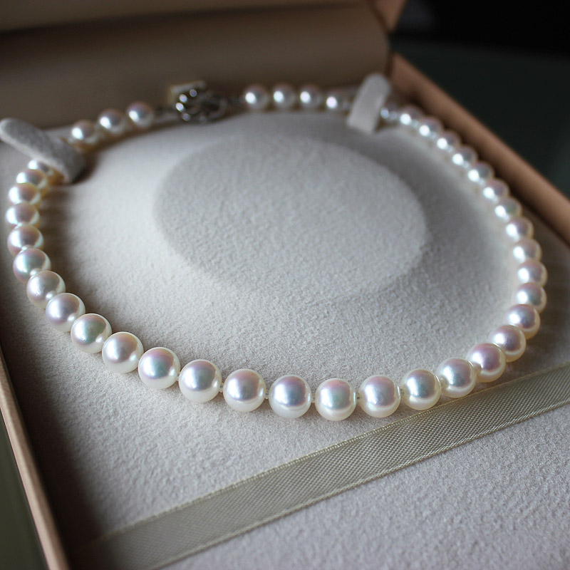 Akoya 花珠海水珍珠全珠项链 42cm(包含链扣)带优美珍珠品牌证书