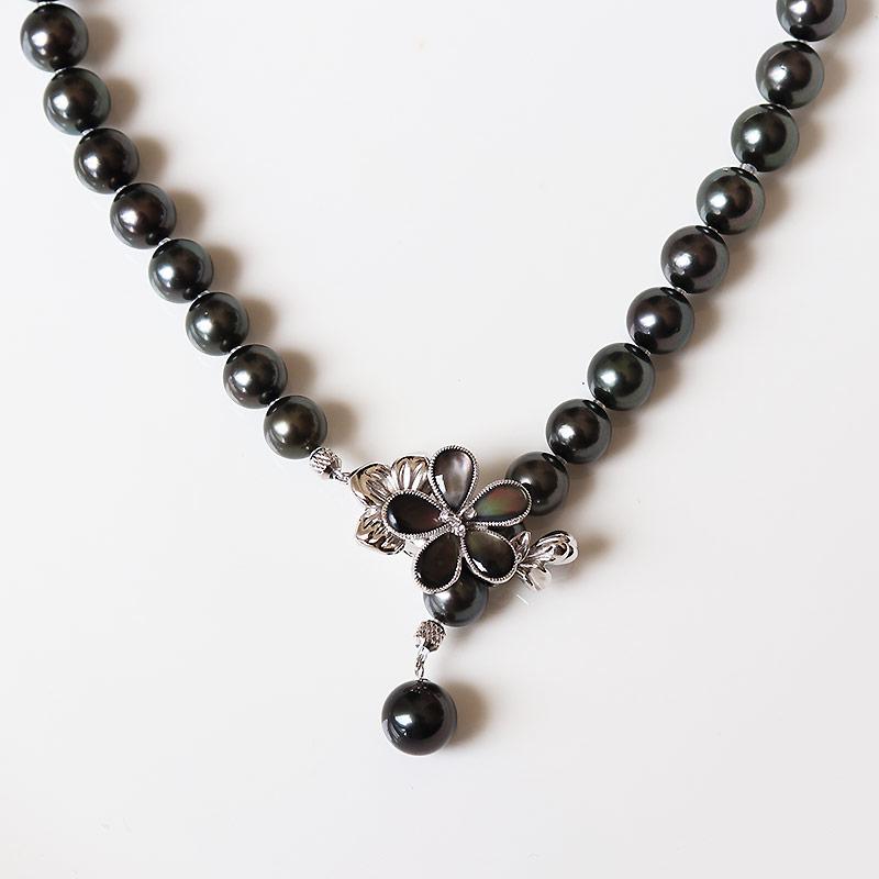 大溪地黑珍珠-最高品质拉贡串珠8-9.9mm 46cm 带日本珍珠科学研究所证书