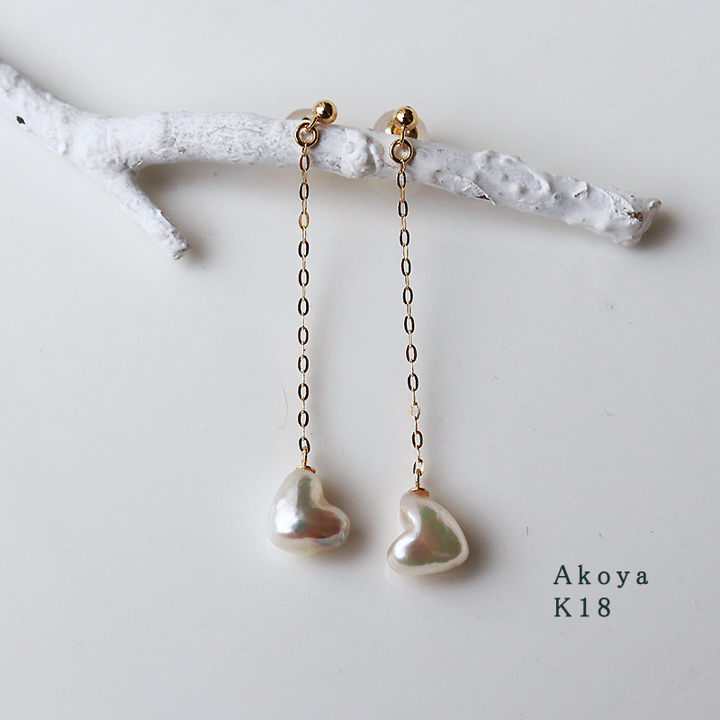 Akoya海珠稀有天然心形耳坠18K金数量有限