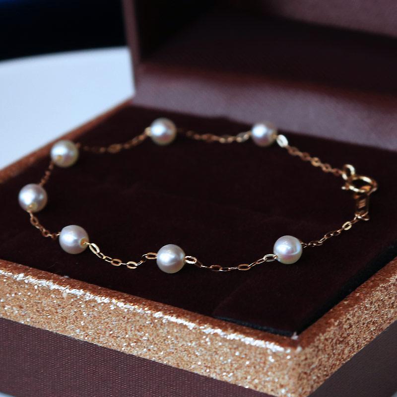 日本akoya海水珍珠 4-4.5mm 珍珠手链 K18黄金 K14白金 珍珠礼品